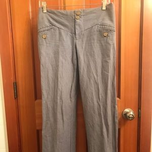 Anthropologie summer pants grey white pinstripe 0